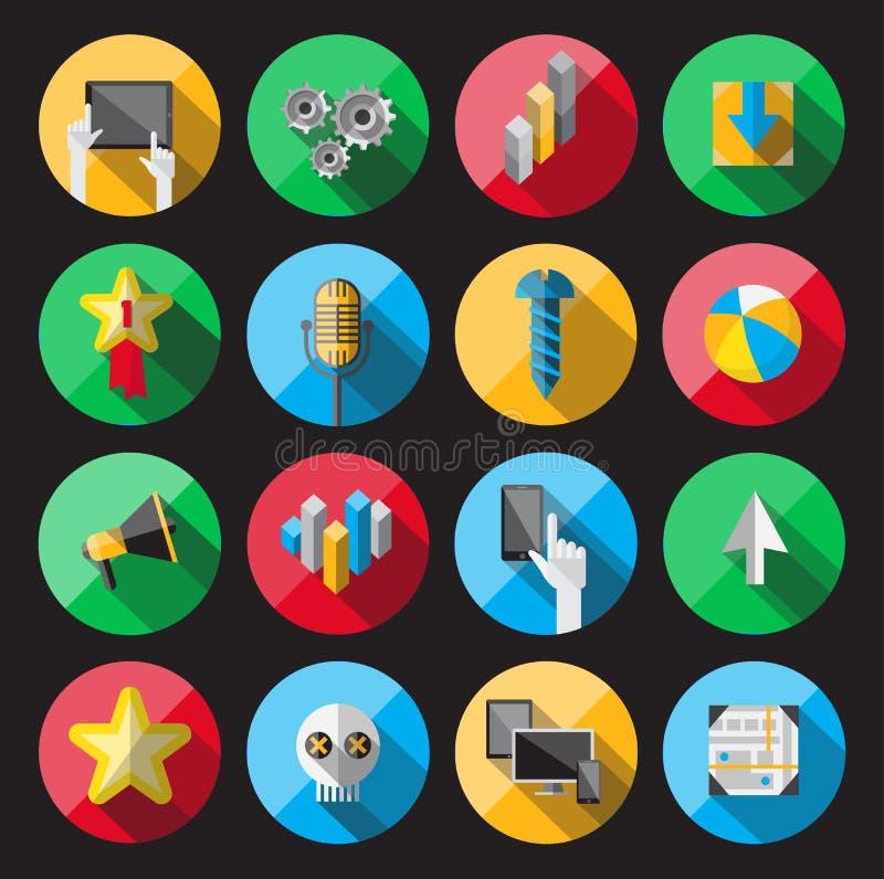 Значки всеобщей квартиры для сети иллюстрация вектора