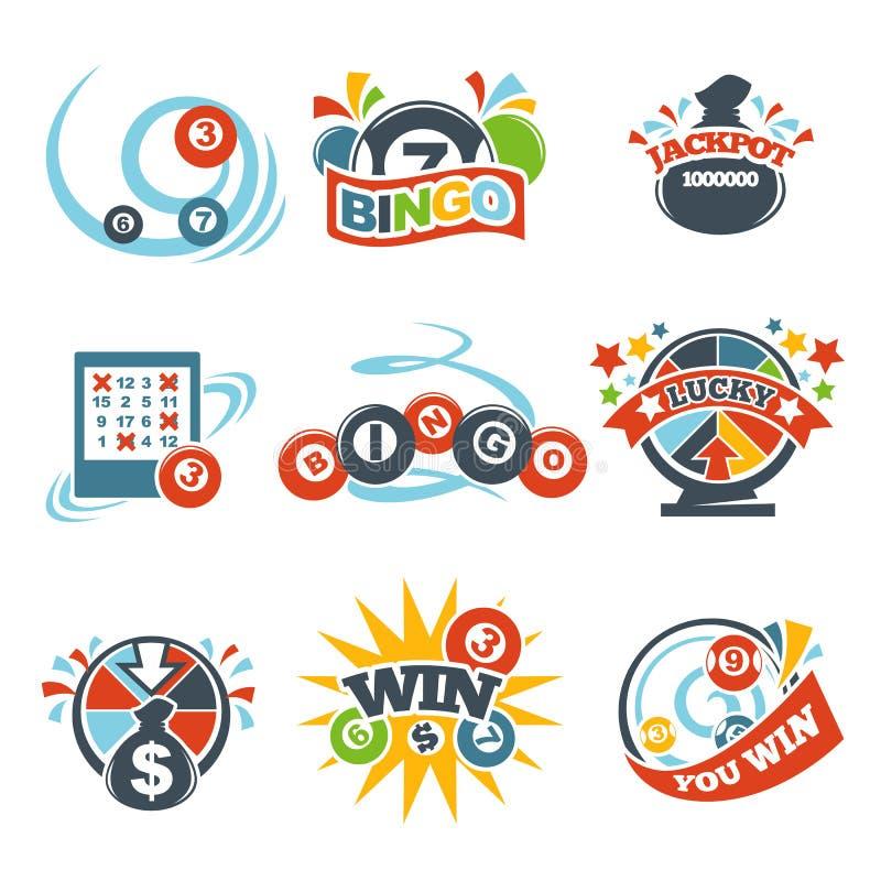 Значки выигрыша lotto Bingo установили номеров вектора джэкпота лотереи бесплатная иллюстрация