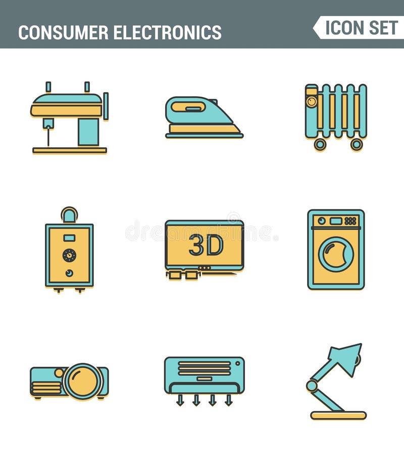 Значки выравнивают установленное наградное качество бытовых устройств, бытовую электронику домочадца Стиль дизайна современного с иллюстрация вектора