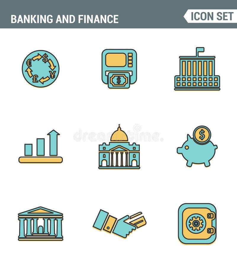 Значки выравнивают установленное наградное качество денег делая, креня и финансовое обслуживание Стиль дизайна современного собра иллюстрация штока