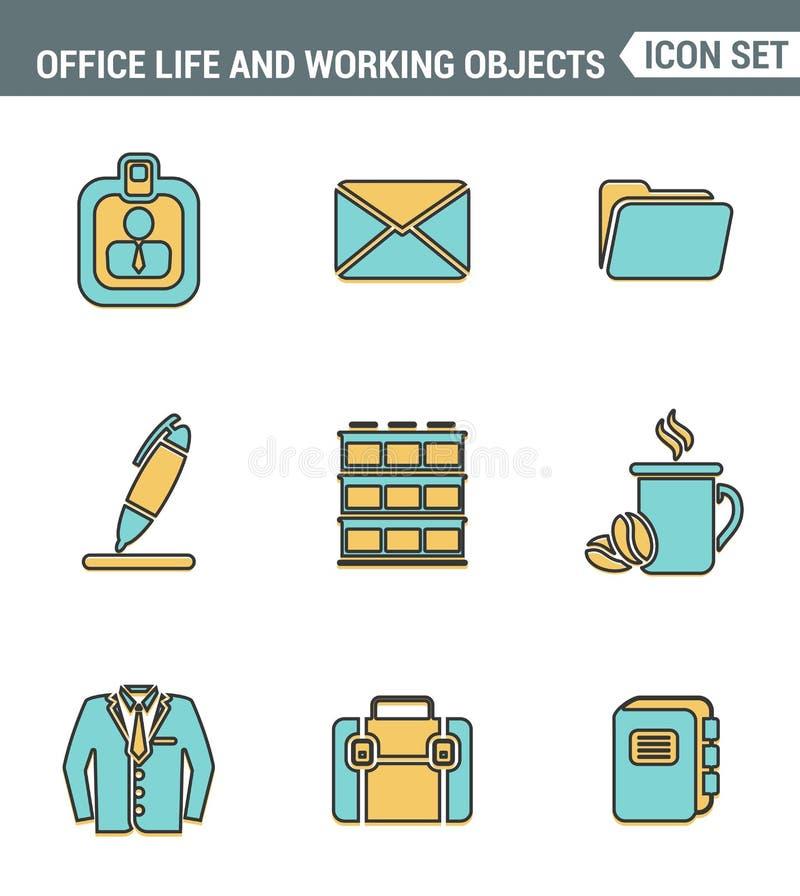 Значки выравнивают установленное наградное качество деталей дела, инструментов офиса, работая объектов и элементов управления Сов иллюстрация вектора