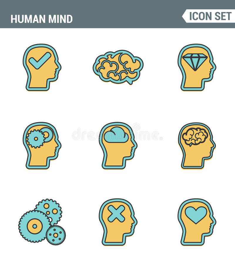Значки выравнивают установленное наградное качество процесса человеческого разума, характеристик мозга и эмоций Стиль дизайна сов иллюстрация вектора