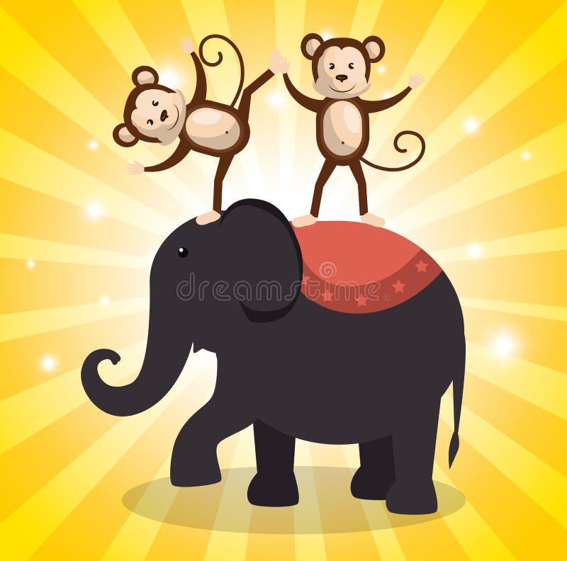 Значки выставки цирка слона иллюстрация вектора
