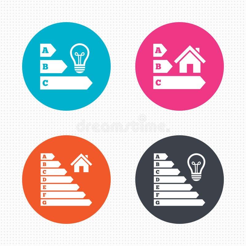 Значки выхода по энергии Шарик и дом лампы иллюстрация вектора