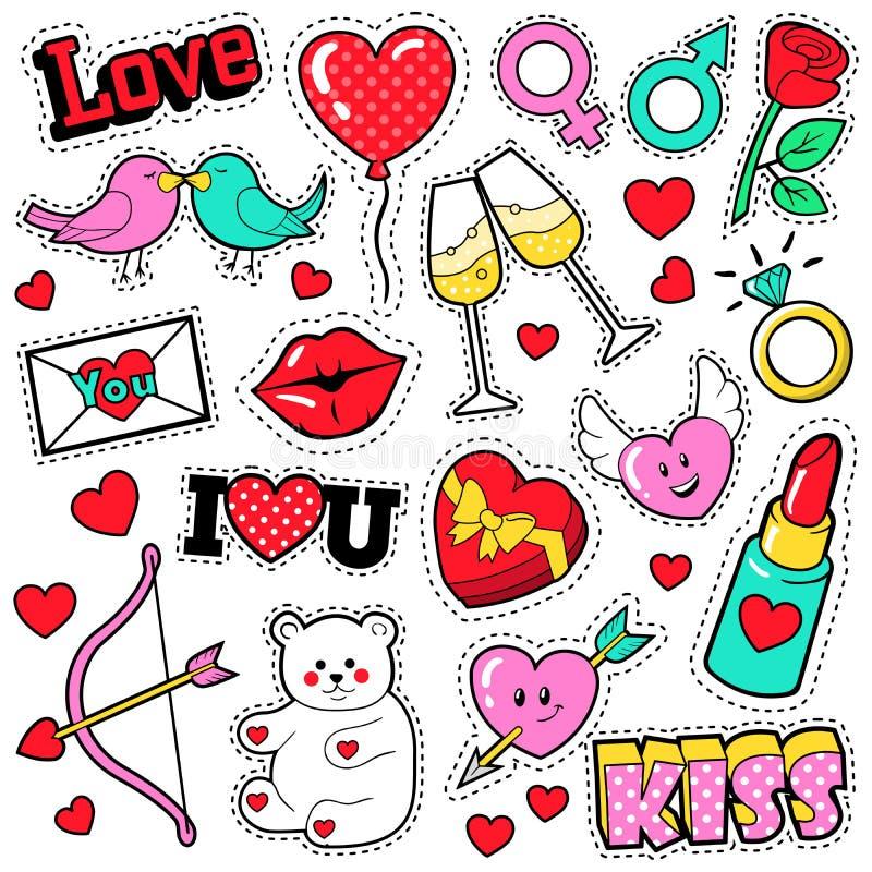 Значки влюбленности моды установленные с заплатами, стикерами, губами, сердцами, поцелуем, губной помадой в стиле искусства шипуч иллюстрация вектора