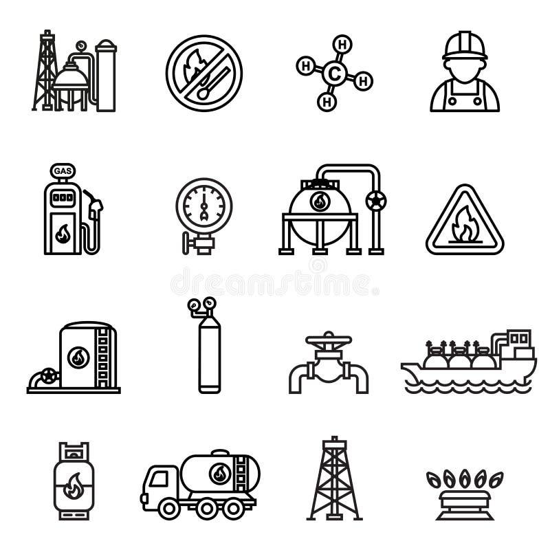 Значки газа продукции и транспорта извлечения газовой промышленности установленные с нефтью автоцистерны могут и насос Тонкая лин иллюстрация вектора