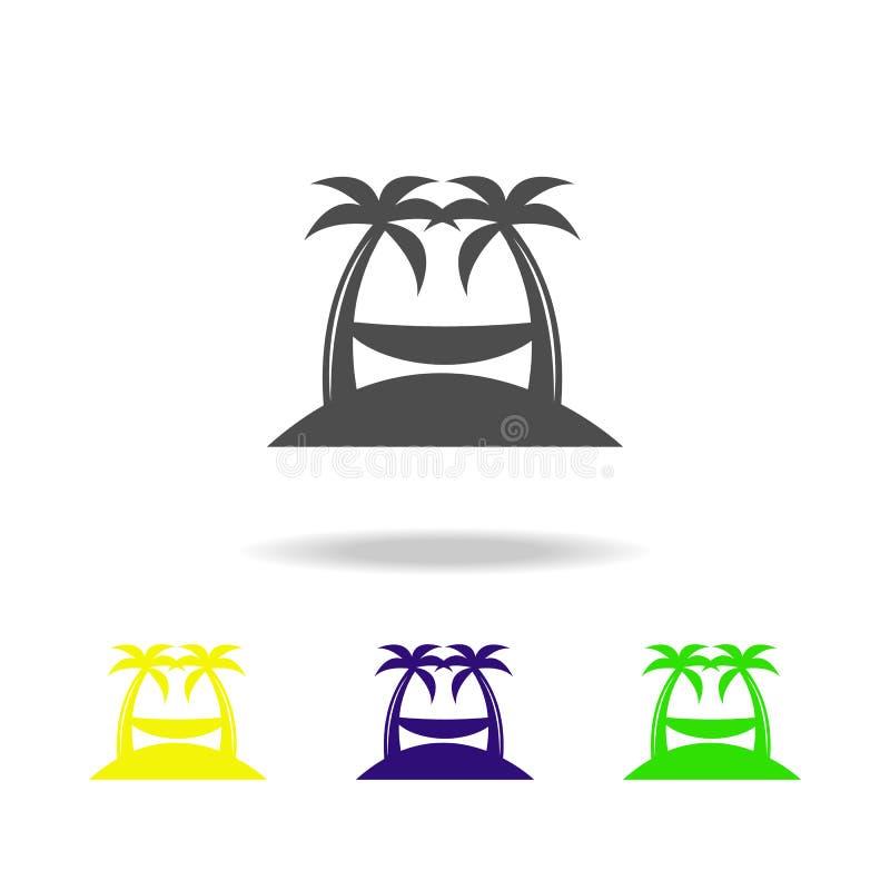 значки гамака пестротканые Элемент значков праздников пляжа пестротканых можно использовать для сети, логотипа, мобильного прилож иллюстрация вектора