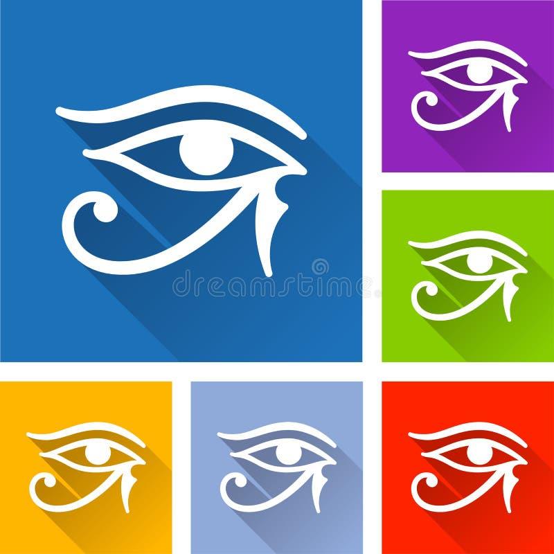 Значки глаза Horus с длинной тенью иллюстрация вектора