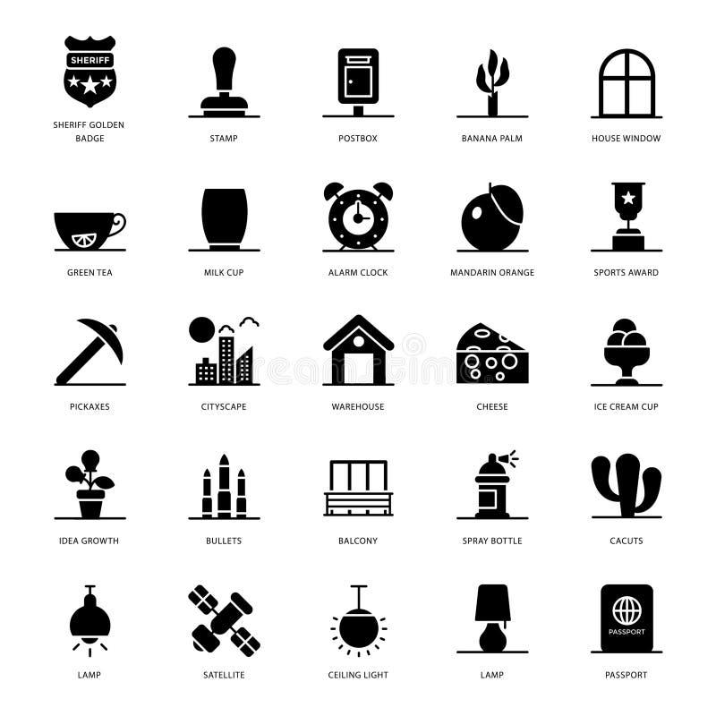 Значки глифа аксессуаров пакуют бесплатная иллюстрация