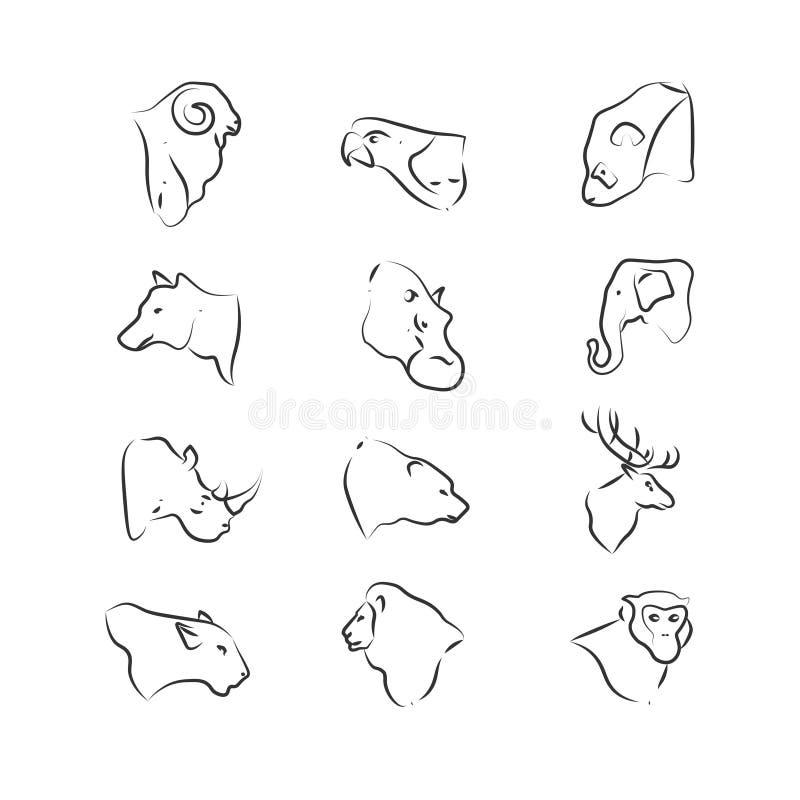 Значки голов диких животных на белой предпосылке бесплатная иллюстрация
