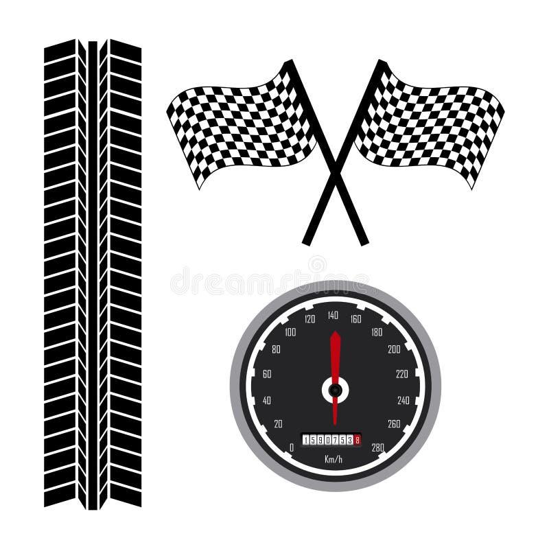 Значки гонки иллюстрация вектора
