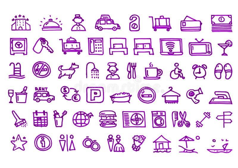 Значки гостиницы нарисованные рукой иллюстрация вектора