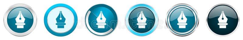 Значки границы хрома ручки серебряные металлические в 6 вариантах, установили кнопок круга сети голубых изолированных на белой пр бесплатная иллюстрация