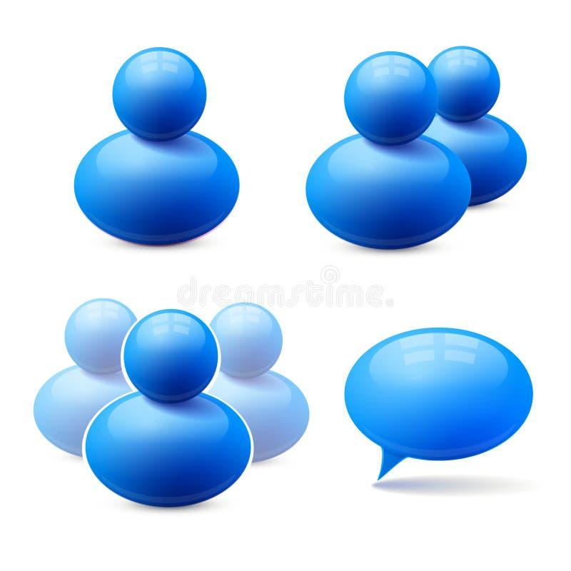 Значки групп людей и пузыря речи бесплатная иллюстрация