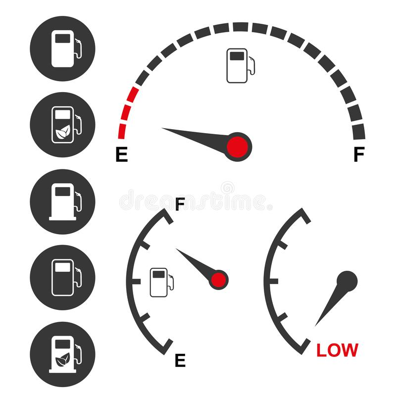 Значки датчика уровня горючего и бензонасоса иллюстрация штока