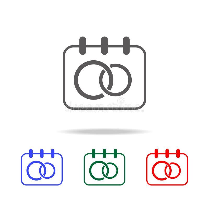 значки даты свадьбы Элементы свадьбы в multi покрашенных значках Наградной качественный значок графического дизайна Простой значо иллюстрация вектора