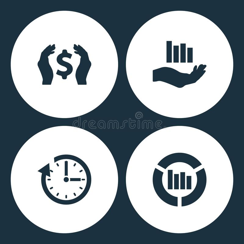 Значки дела иллюстрации вектора установленные Деньги элементов в руке, диаграмме вектора обновление растущих, часах вектора и зна бесплатная иллюстрация