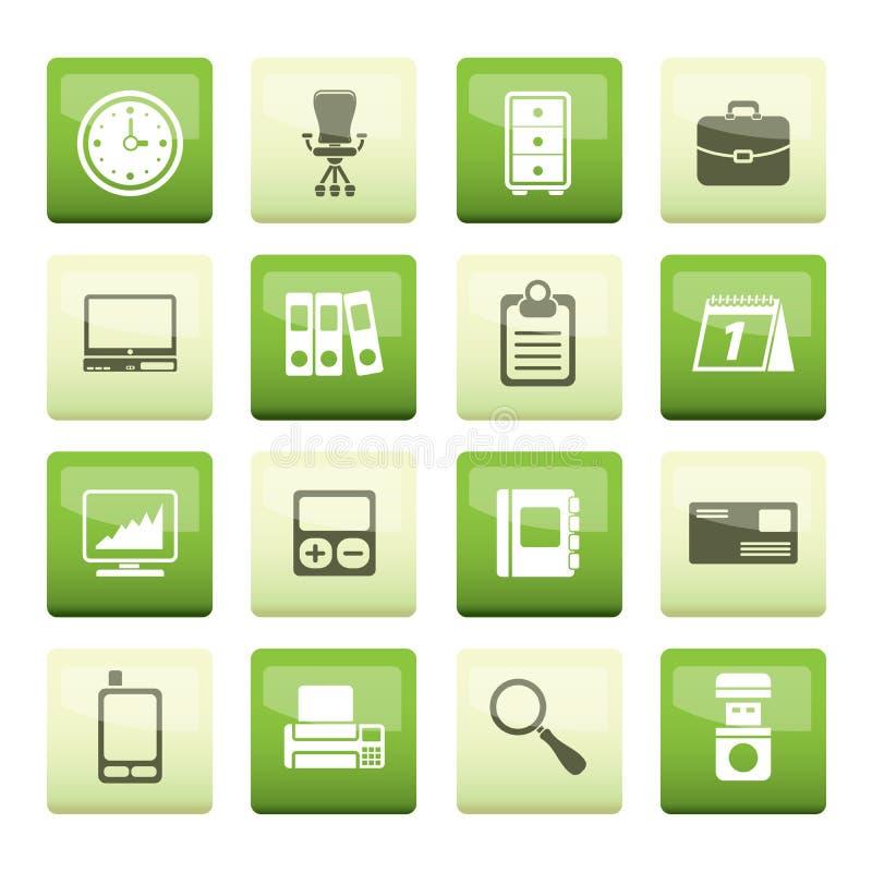 Значки дела и офиса над зеленой предпосылкой иллюстрация вектора