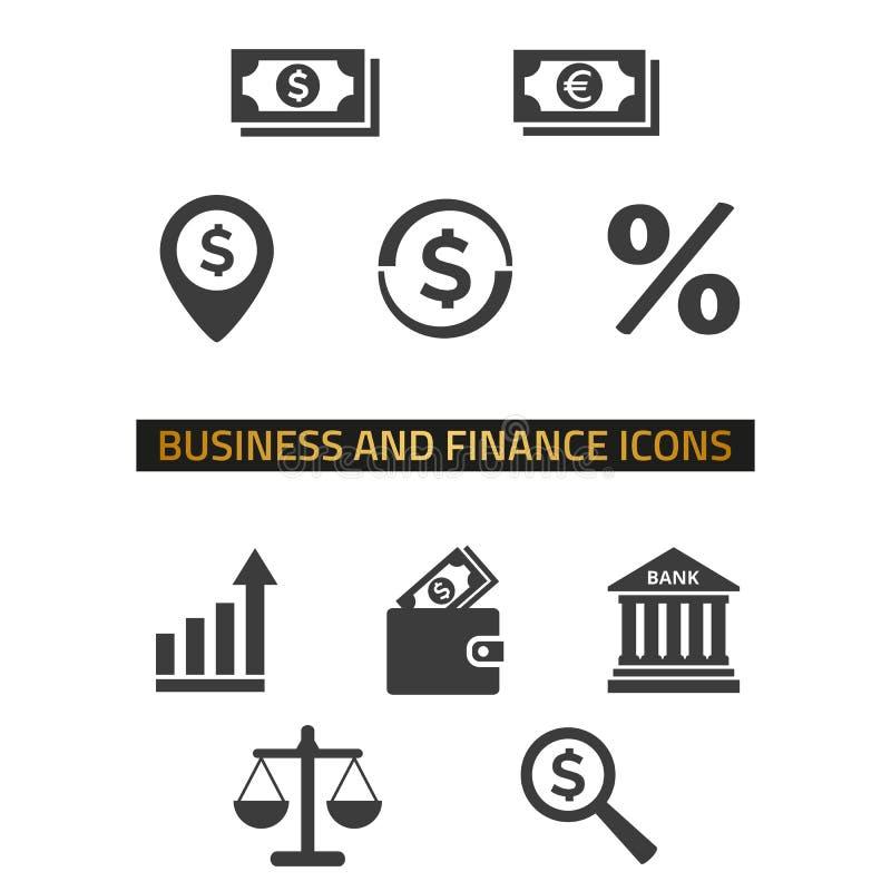 Значки дела и финансов установили на белую предпосылку стоковое изображение