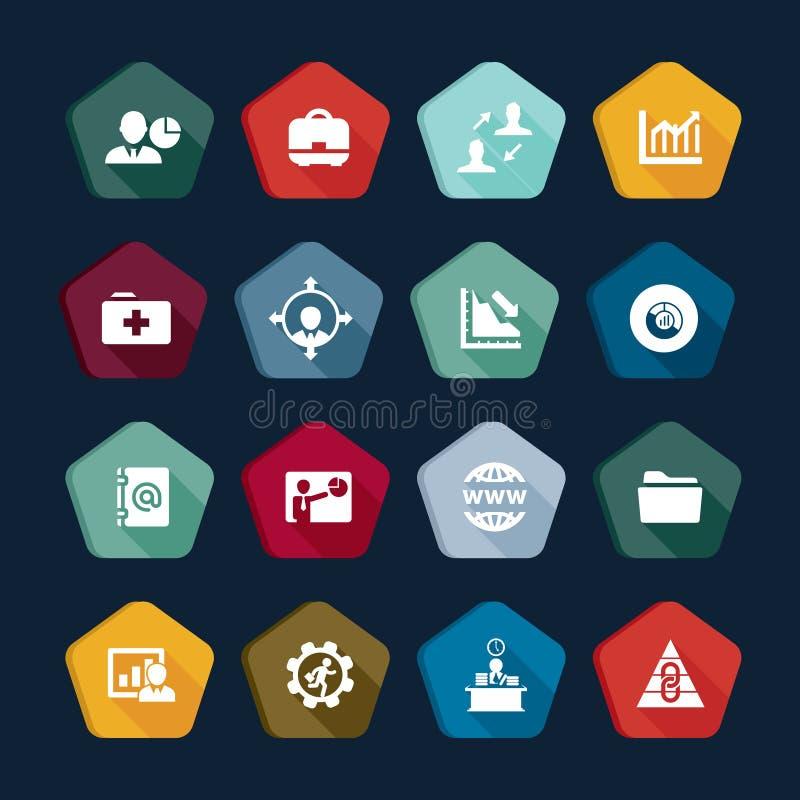 Значки дела собрания: корпорация, менеджер, банк, цель, выгода, деньги, управление бесплатная иллюстрация
