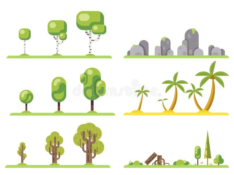 значки дерева установили иллюстрацию вектора идеи проекта элементов конструкции ландшафта природы леса плоскую бесплатная иллюстрация