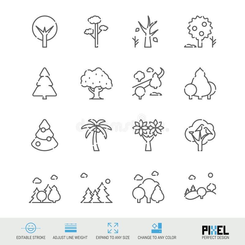 Линия набор вектора значка Значки деревьев родственные линейные Символы леса, пиктограммы, знаки иллюстрация штока