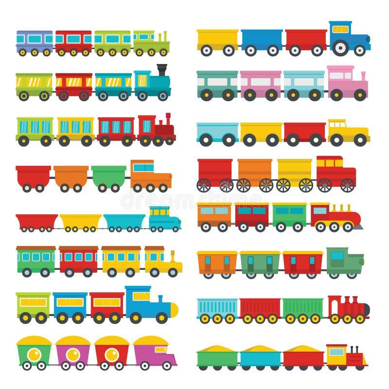Значки детей игрушки поезда установили, плоский стиль бесплатная иллюстрация