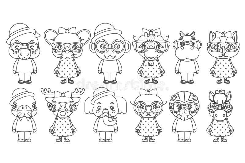 Значки детей шаржа талисмана новичков девушки мальчика Lineart милые животные установили иллюстрацию вектора дизайна книжка-раскр иллюстрация штока