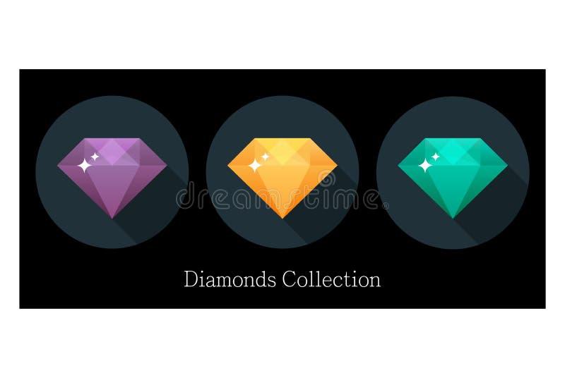 Значки диамантов установленные в другие цвета иллюстрация вектора