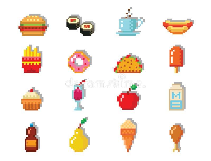 Значки дизайна компьютера еды искусства пиксела vector график сети игры фаст-фуда элемента иллюстрации pixelated рестораном ретро иллюстрация вектора