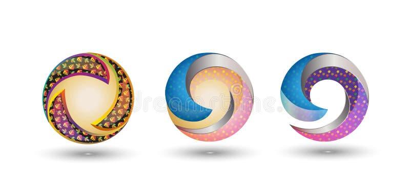 значки дизайна логотипа 3D красочные иллюстрация штока