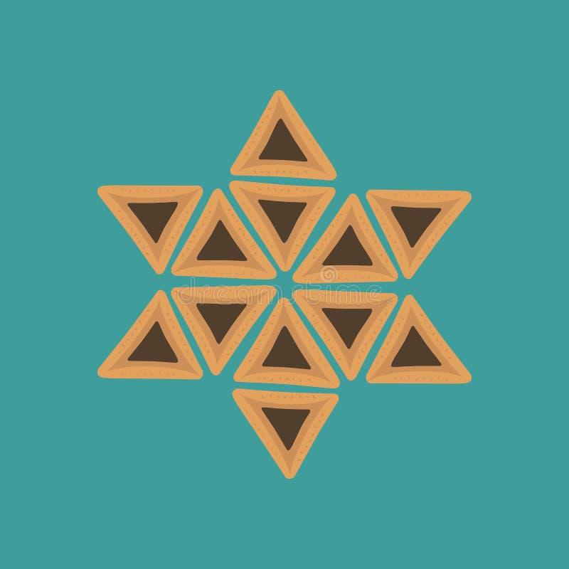 Значки дизайна праздника Purim плоские hamantashs в звезде Давида s иллюстрация вектора