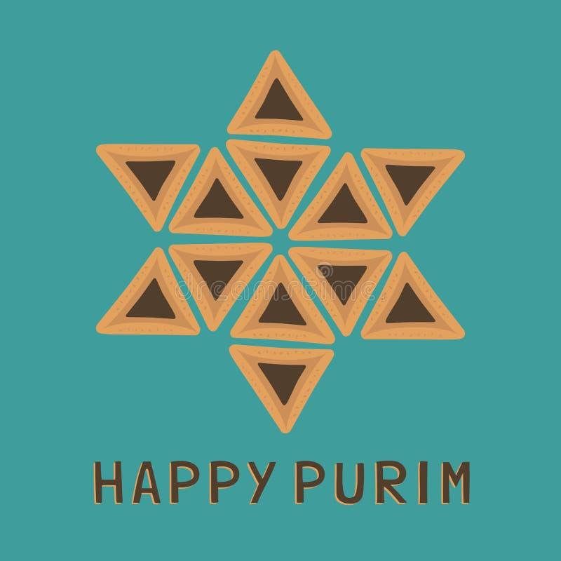 Значки дизайна праздника Purim плоские hamantashs в звезде Давида s иллюстрация штока