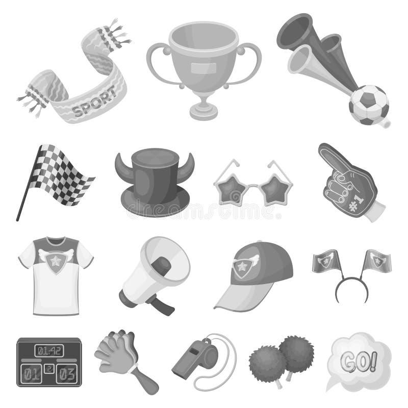 Значки дуйте и атрибутов monochrome в собрании комплекта для дизайна Иллюстрация сети запаса символа вектора вентилятора спорт иллюстрация штока
