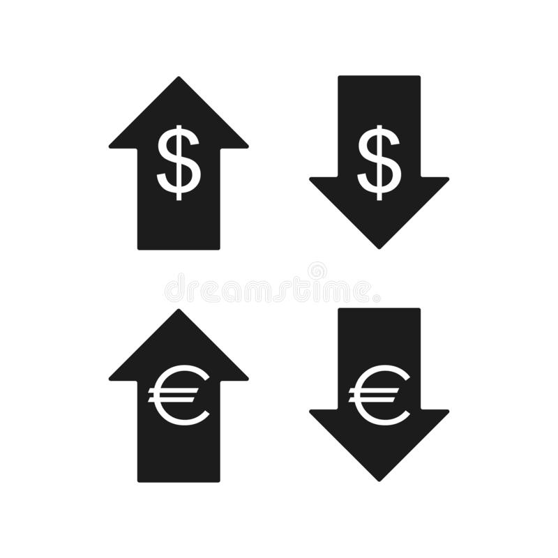 Значки евро и доллара вниз вверх иллюстрация штока
