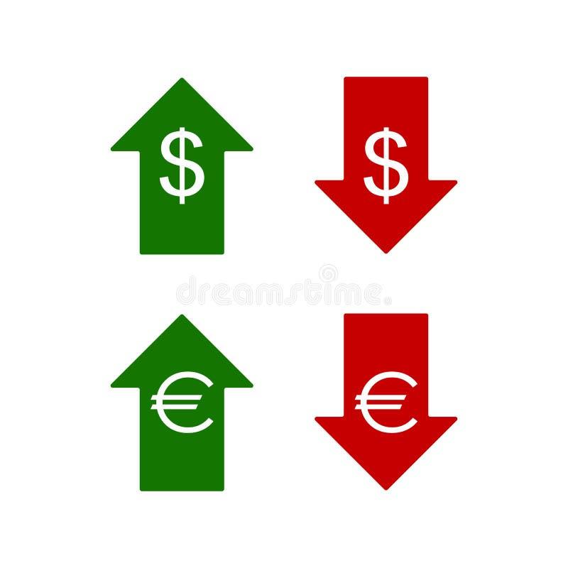 Значки евро и доллара вниз вверх бесплатная иллюстрация