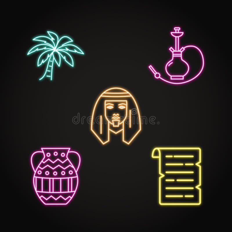 Значки Египта установили в неоновую линию стиль бесплатная иллюстрация