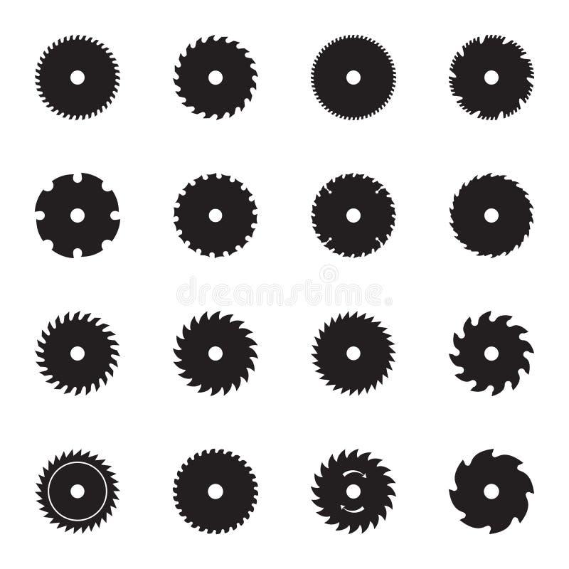 Значки лезвия круглой пилы иллюстрация вектора