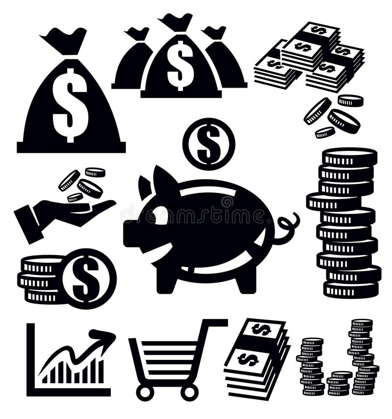 Значки денег бесплатная иллюстрация
