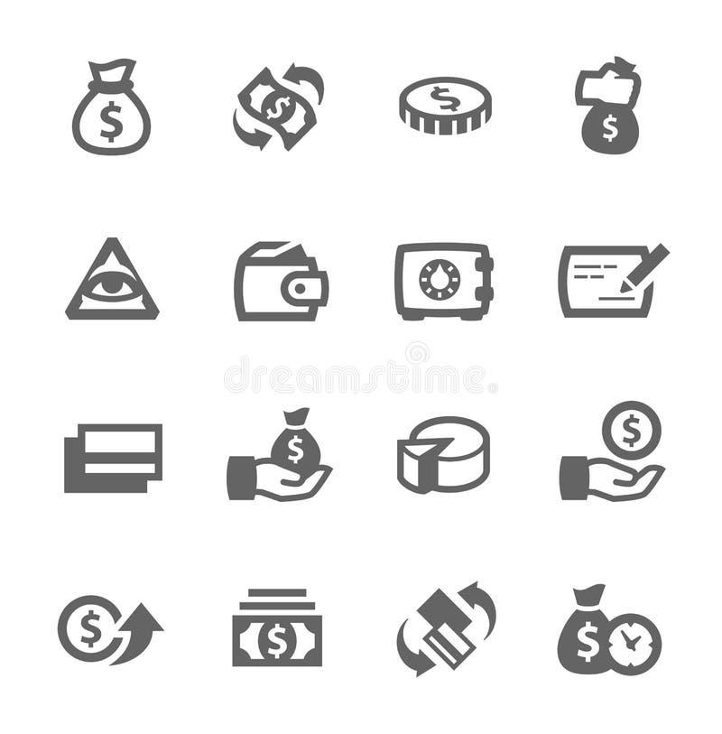 Значки денег иллюстрация штока