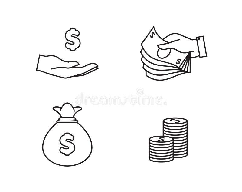 Значки денег иллюстрация вектора