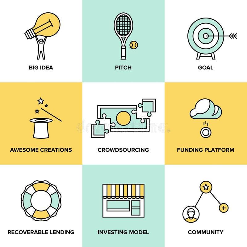 Значки денег Crowdsourcing и финансирования плоские иллюстрация вектора