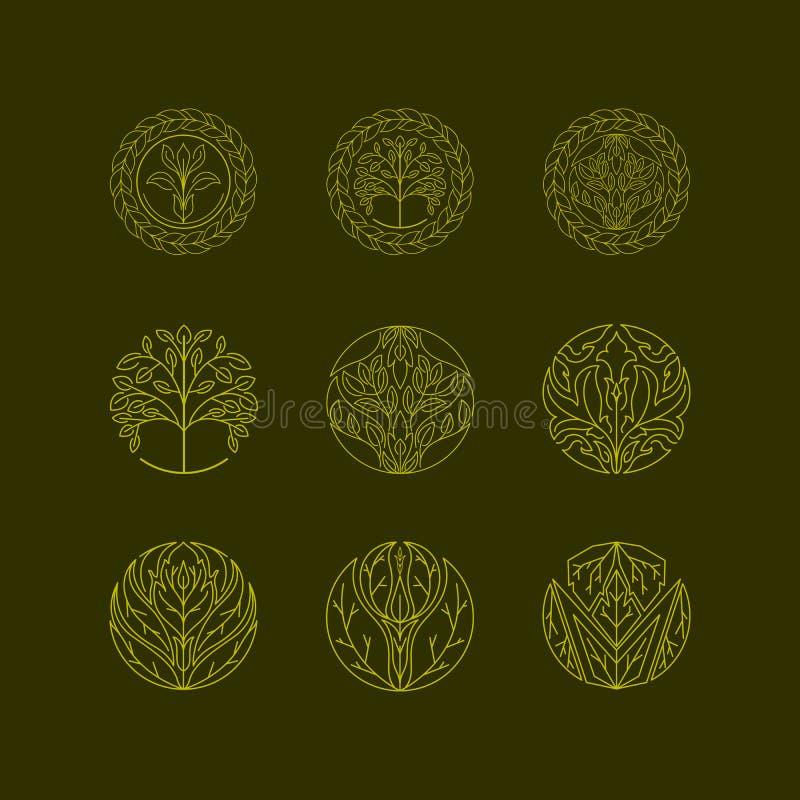 Значки дерева вектора органические стоковое изображение