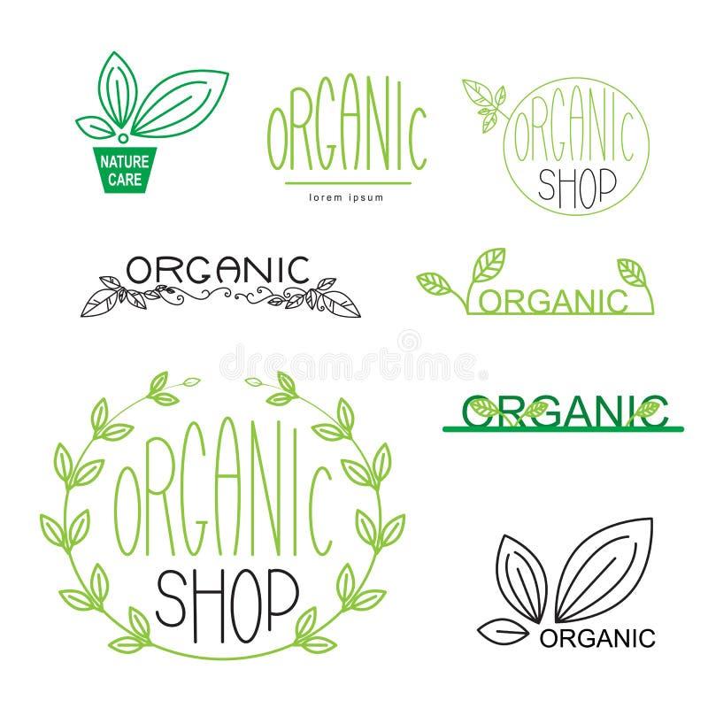 Значки естественных, органических, vegan и логотип конструируют бесплатная иллюстрация