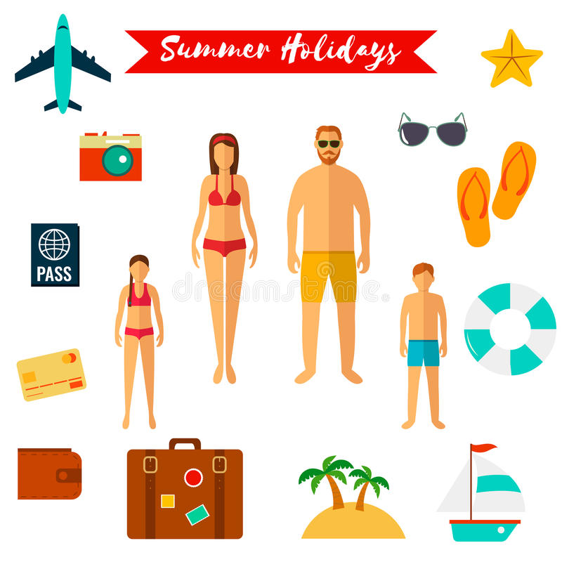 Значки летнего отпуска плоские вектор бесплатная иллюстрация