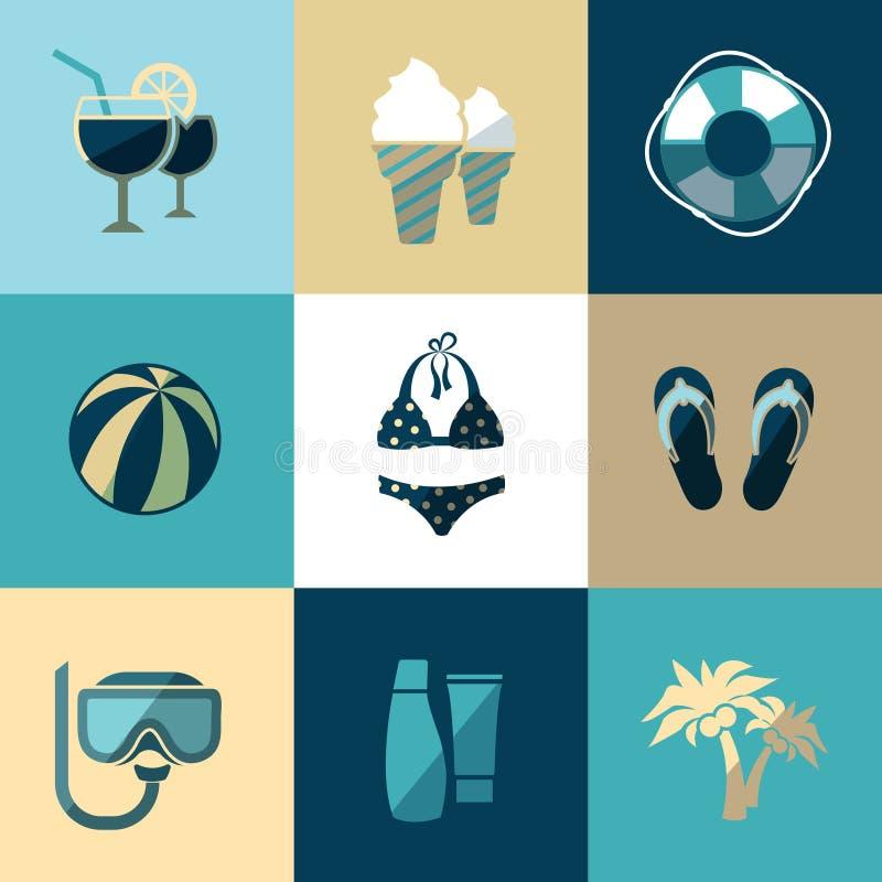 Значки летних каникулов и вектора пляжа плоские бесплатная иллюстрация