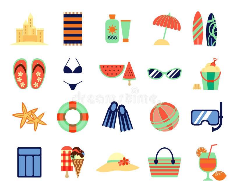 Значки летних каникулов пляжа плоские Знаки летнего времени вектора иллюстрация штока