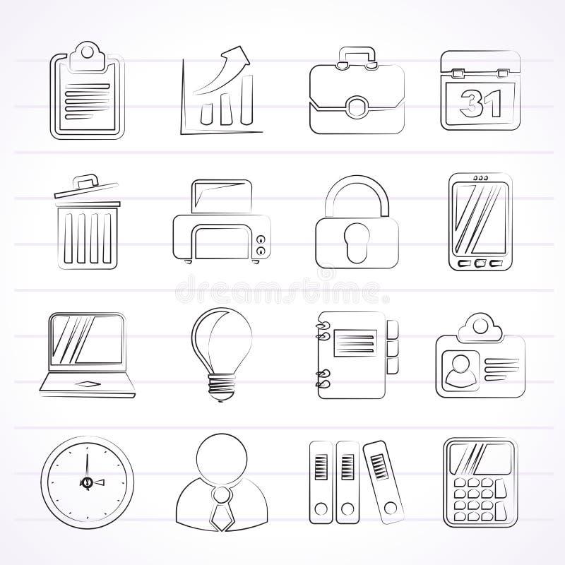 Значки дела и офиса иллюстрация вектора