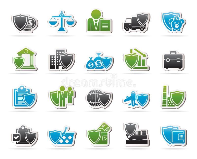 Значки дела и страхования от простоя производства бесплатная иллюстрация