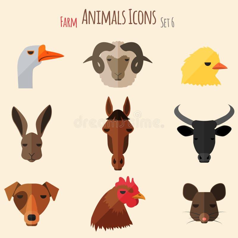 Значки животноводческих ферм с плоским дизайном иллюстрация вектора